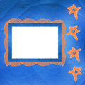 Old frame with orange stars and buttons Royalty Free Stock Photography