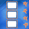 Old frame with orange stars and buttons Stock Image