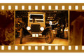 Old frame photo with retro car Royalty Free Stock Photo