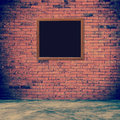 Old frame red brick wall and room interior with floor concrete v Royalty Free Stock Photo