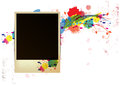 Old frame on watercolor paint background Stock Photography