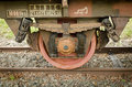 Old freight train wheel Stock Images