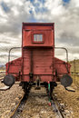 Old freight wagon an in a small country station Stock Image