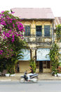 Old french colonial house kampot cambodia Royalty Free Stock Images