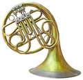 Old french horn isolated on white with clipping path Royalty Free Stock Photo