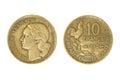 Old french monetary unit franc. Royalty Free Stock Photo