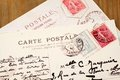 Old French Postcards Stock Photography