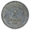 Old 1947 French two Francs coin isolated on the white background Royalty Free Stock Photo