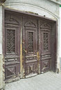 Old front door the to the house in the town Royalty Free Stock Photography