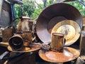 Old Full Set of Variety Brass Kitchenware, Vintage Style Royalty Free Stock Photo