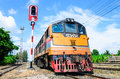 Old g e locomotive and parking at nakonratchasima station thailand in the afternoon Stock Images