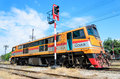 Old g e locomotive side of and parking at nakonratchasima station thailand in the afternoon Stock Photography