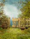Old garden with a wooden fence Stock Images