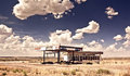 Old gas station in ghost town along the route 66 Royalty Free Stock Photo