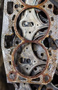 Old gasket the that is in use and many pieces are combined Stock Photos