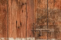 Old gate latch with wooden copyspace Stock Photo