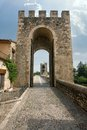 Old gate in tower on ancient bridge besalu spain Stock Images