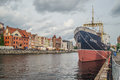 Old Gdansk panorama with ancient steamer Royalty Free Stock Photo