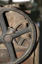 Old gear an rusted iron of an antiquated steam machine Royalty Free Stock Image