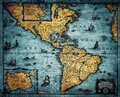 Old geographic map of South and North America. Concept on the theme of travel, adventure, geography, discovery, history. Pirate Royalty Free Stock Photo