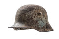 Old german helmet isolated on white background Stock Photos