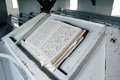 Old german scriptures from the s sits on a pulpit in a rural church Royalty Free Stock Photo
