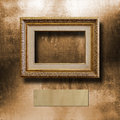 Old gilded picture frame for  portrait Royalty Free Stock Photo