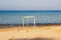 Old goalpost in a tropical beach abandoned without the net Stock Images