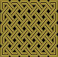 Old gold celtic knot on black background thatch type rectangular pattern in a Royalty Free Stock Photo