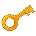 Old gold key isolated illustration Royalty Free Stock Photo
