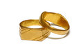 Old gold wedding rings ring isolated Stock Photo