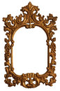 Old Gold Wood Mirror Frame with Ornaments Royalty Free Stock Photo