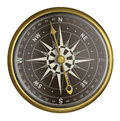 Old golden compass with dark face isolated Royalty Free Stock Photo