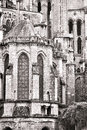 Old gothic cathedral medieval architecture detail church construction outside the east end of the of our lady of chartres in Stock Photos