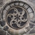 Old gothic cathedral round window. Royalty Free Stock Photo