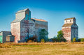Old grain silo working in north dakota Royalty Free Stock Photography