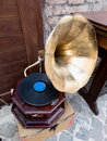 Old gramophone in a market of souvenirs in the city of rome Royalty Free Stock Photos
