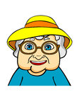 Old grandmother in hat and eyeglasses vector ilustration in cartoon style Royalty Free Stock Photos