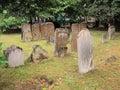 Old gravestones in churchyard oxford very worn england united kingdom Stock Photo