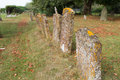 Old gravestones closeup to at a church Royalty Free Stock Images