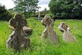 Old gravestones weobley stone cross in st peter and st paul churchyard herefordshire england uk western europe Stock Image