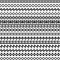 Old greek border, Tribal vintage ethnic seamless pattern, asian lattice ornaments, chinese, japanese, korean vector set Royalty Free Stock Photo