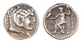 Old greek tetradrachm coin empire alexander great heracles hercules face lion hair obverse zeus holding eagle reverse iv century Stock Images
