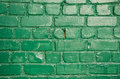 Old Green Painted Brick Wall Background