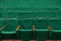 Old green seats in theater