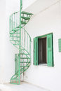 Old green stairs outdoor on a house in country style. Royalty Free Stock Photo