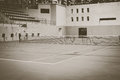 Old green tennis court,vintage style Royalty Free Stock Photo