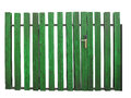 Old green wooden gate with lock isolated over white background Stock Photos