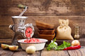 Old grinder with minced meat Royalty Free Stock Photo