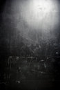 Old grunge black wall spot lighting Stock Image